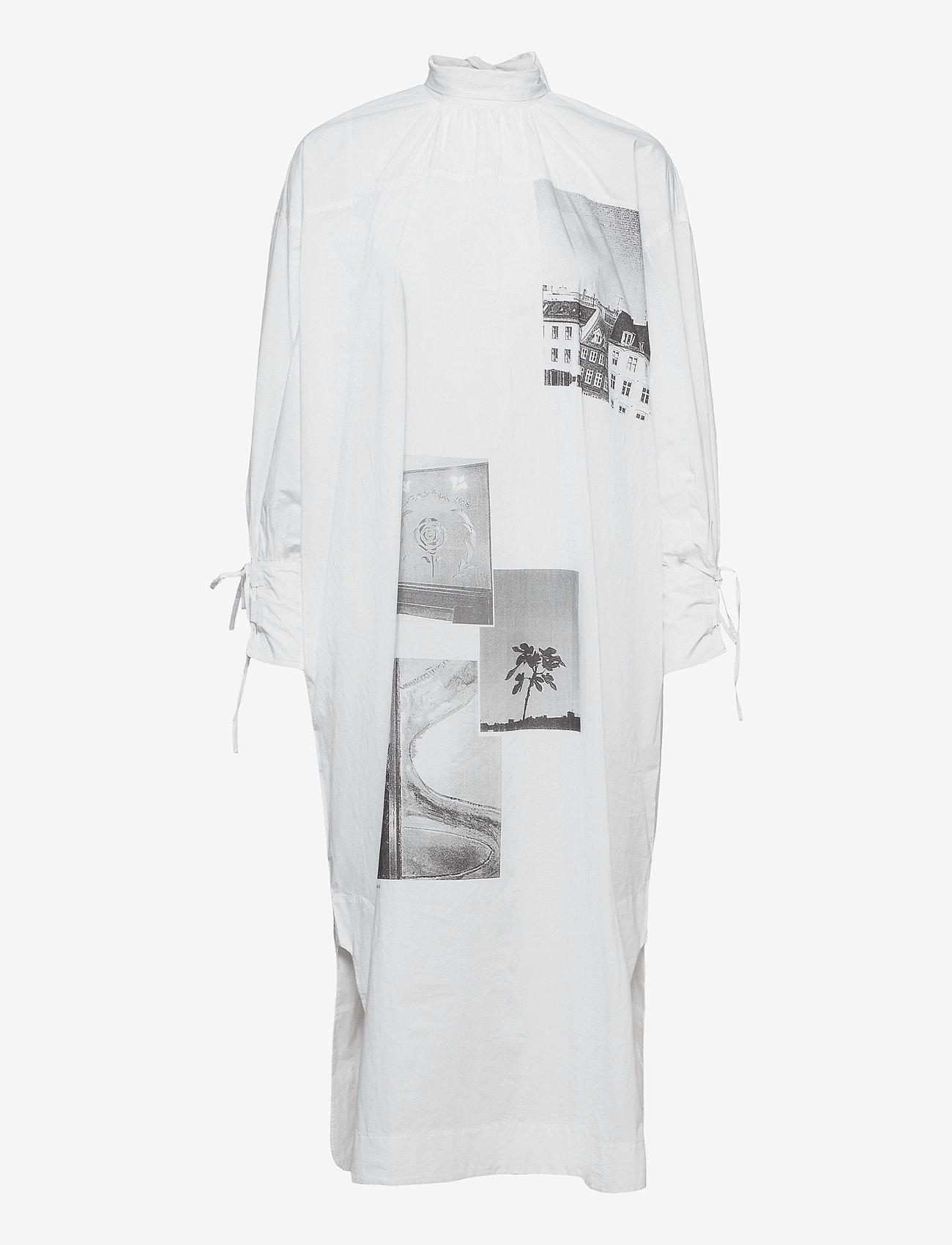 Ganni - Printed Cotton Poplin - sommerkjoler - sharkskin - 0