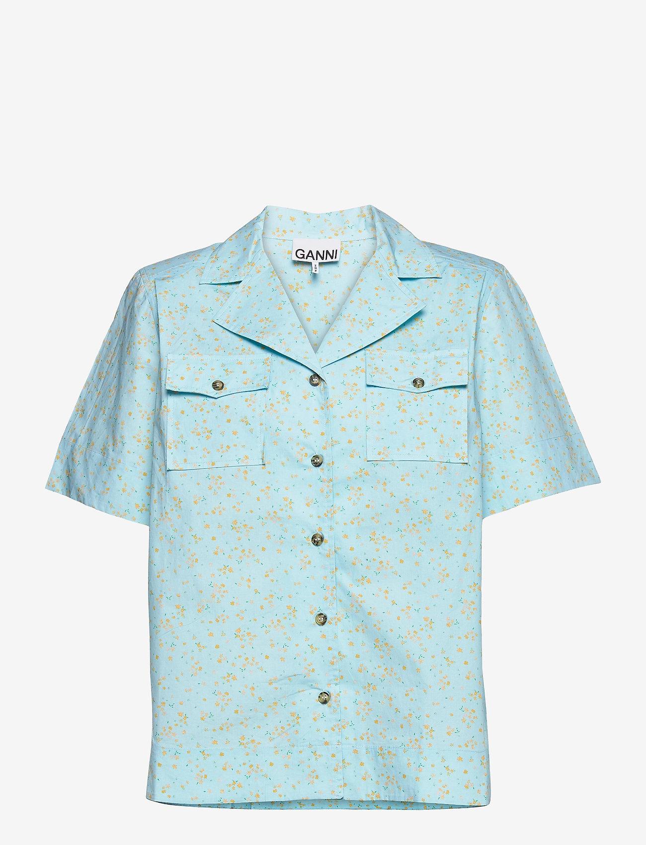 Ganni - Printed Cotton Poplin - denim shirts - corydalis blue - 0