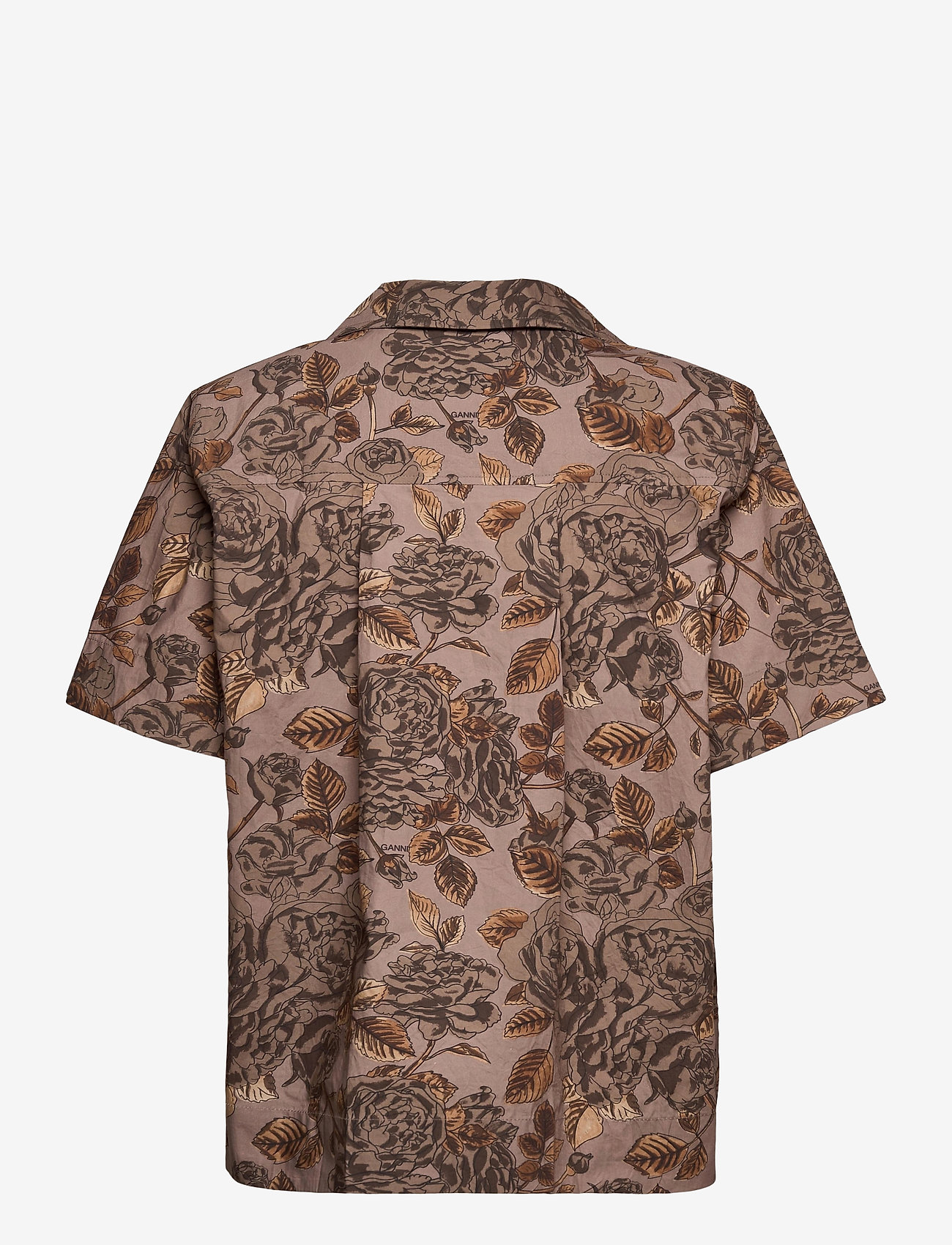 Ganni - Printed Cotton Poplin - kortærmede skjorter - fossil - 1