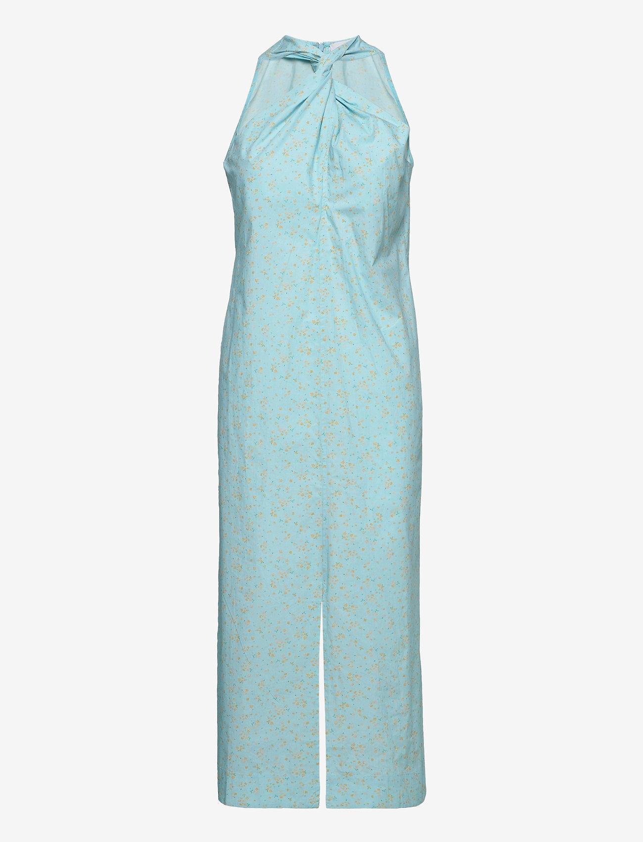 Ganni - Printed Cotton Poplin - sommerkjoler - corydalis blue - 0
