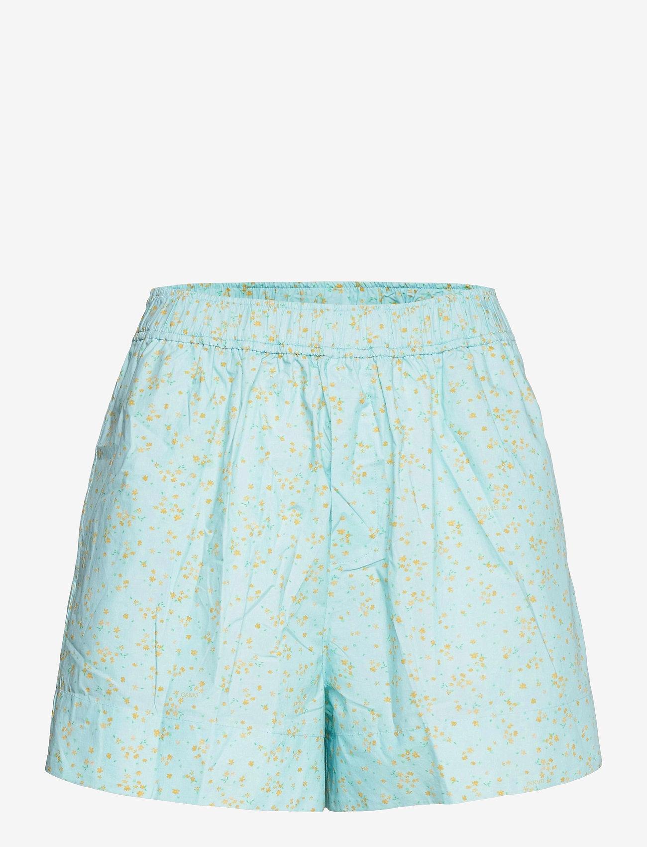 Ganni - Printed Cotton Poplin - casual shorts - corydalis blue - 0