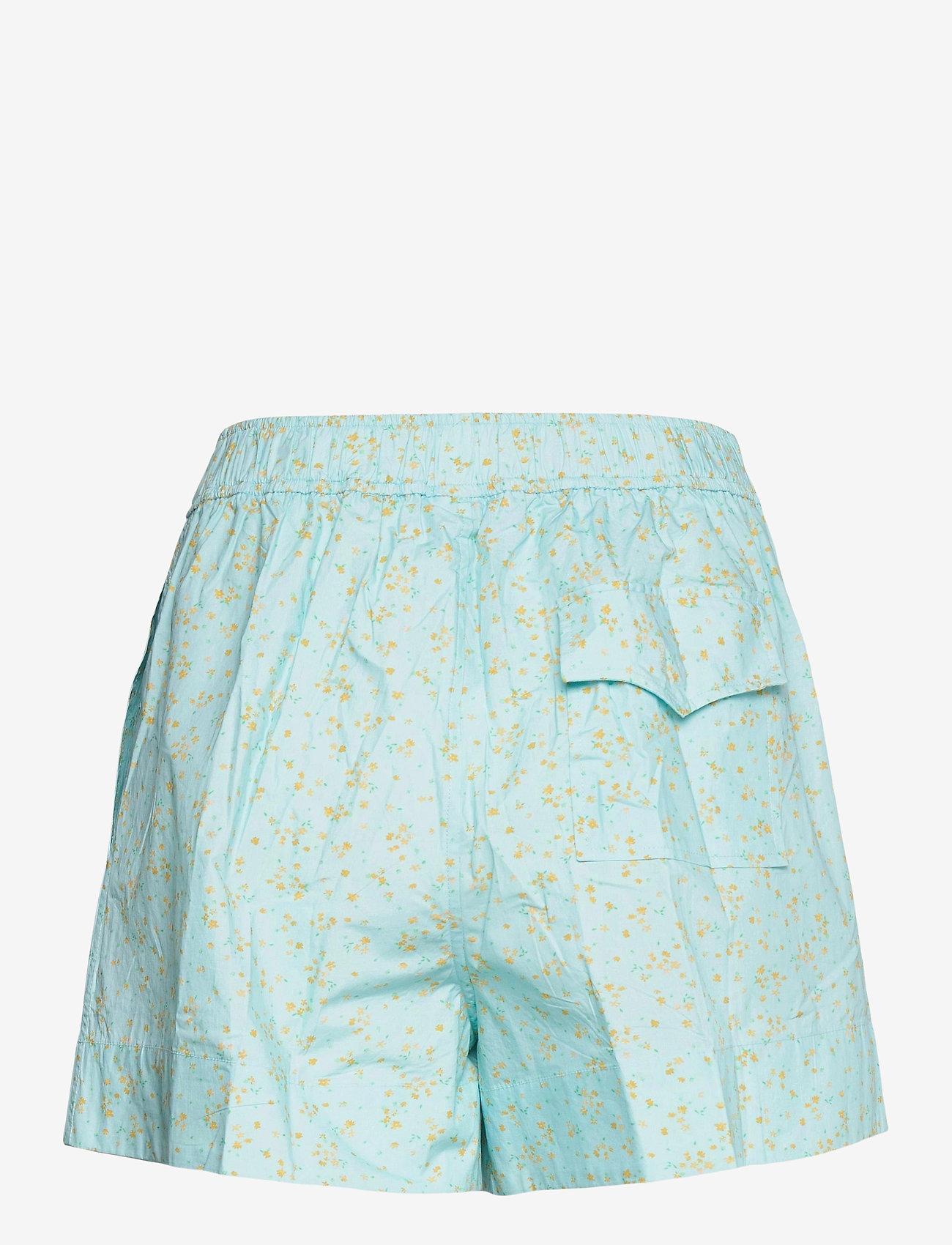 Ganni - Printed Cotton Poplin - casual shorts - corydalis blue - 1