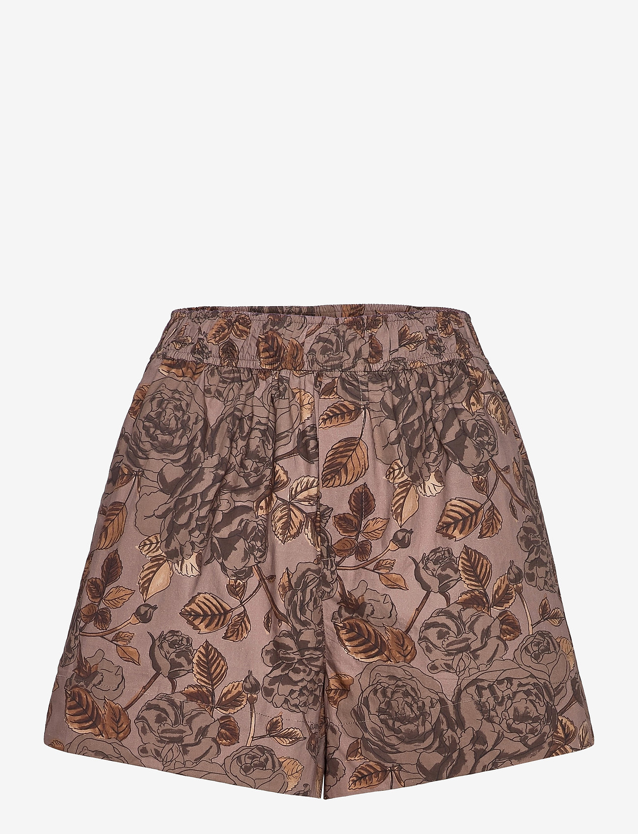 Ganni - Printed Cotton Poplin - casual shorts - fossil - 0