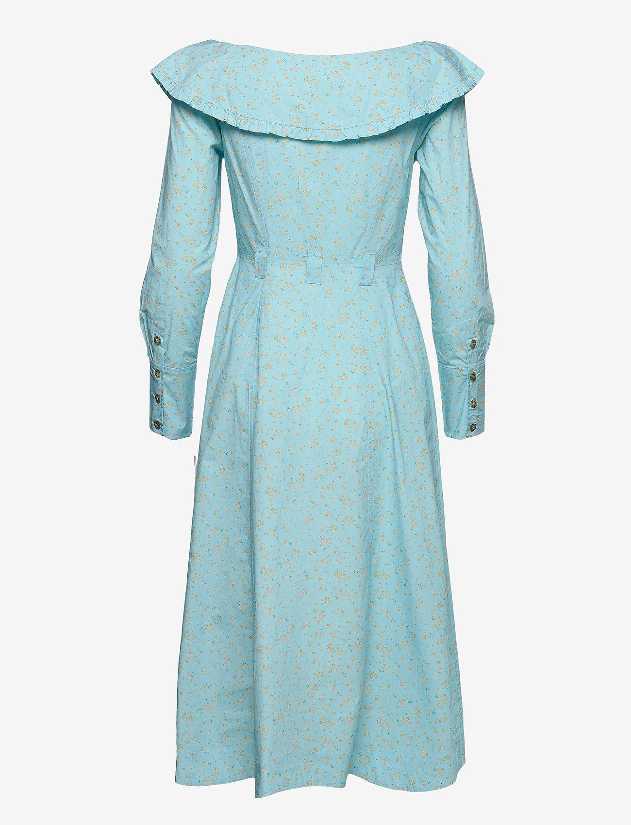 Ganni - Printed Cotton Poplin - sommerkleider - corydalis blue - 1