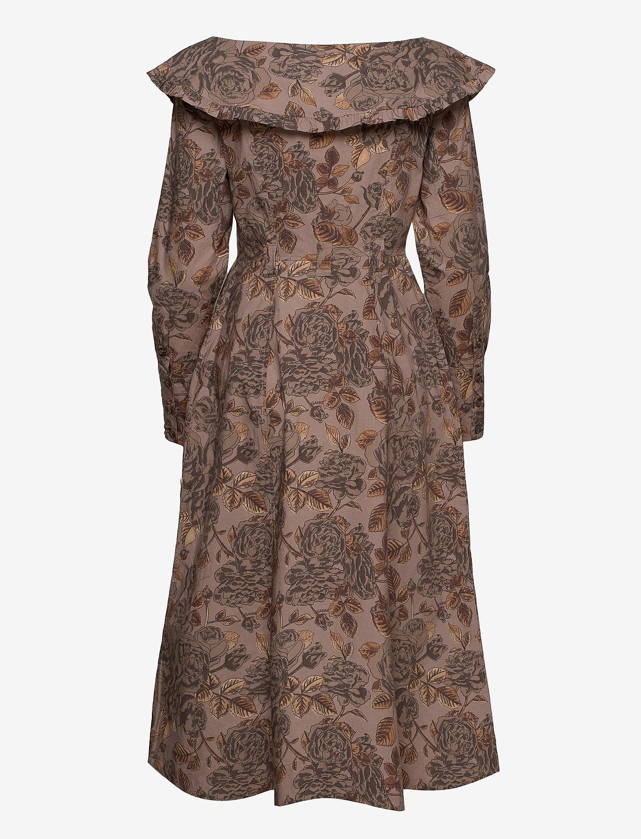 Ganni - Printed Cotton Poplin - midi kjoler - fossil - 1