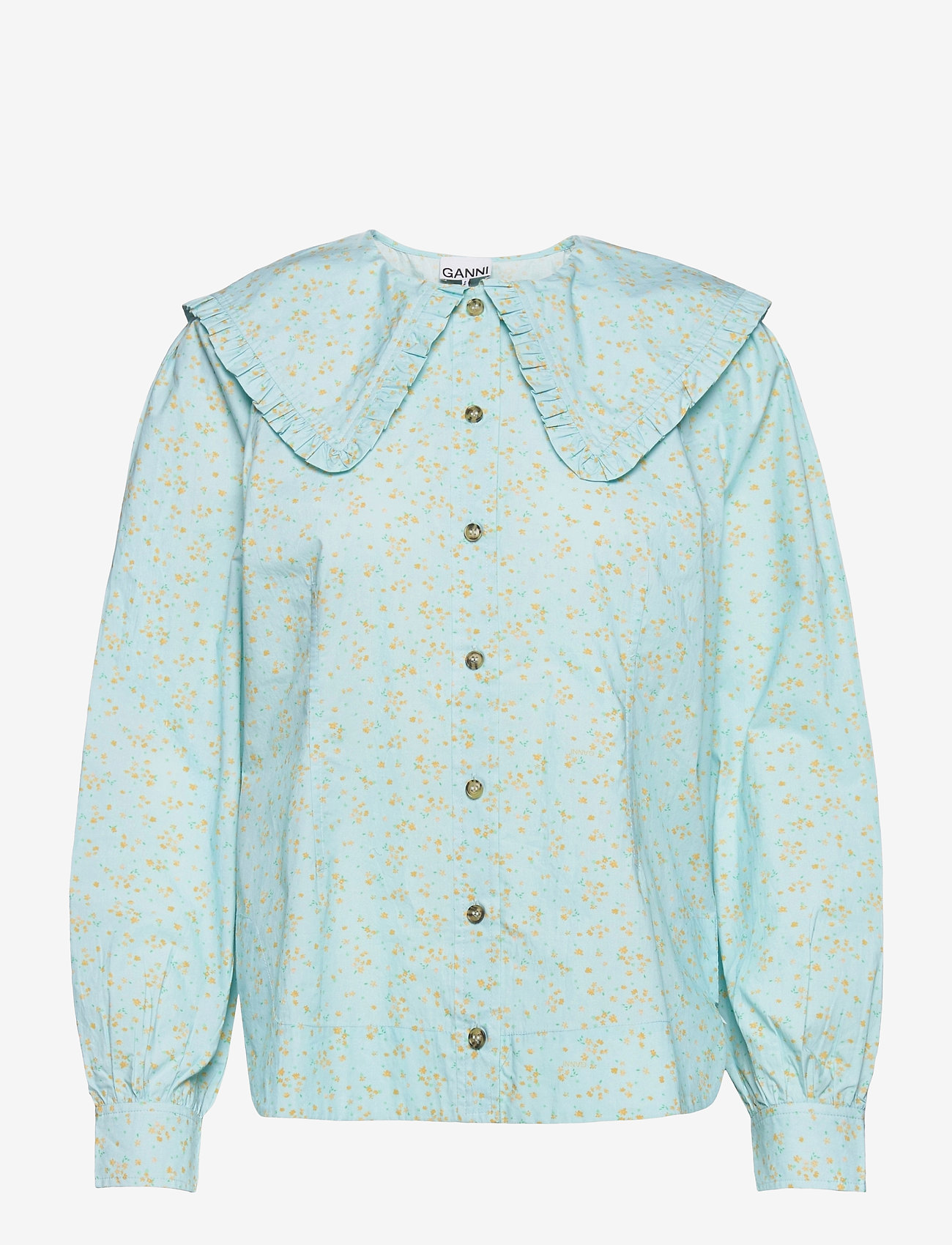 Ganni - Printed Cotton Poplin - langærmede bluser - corydalis blue - 0