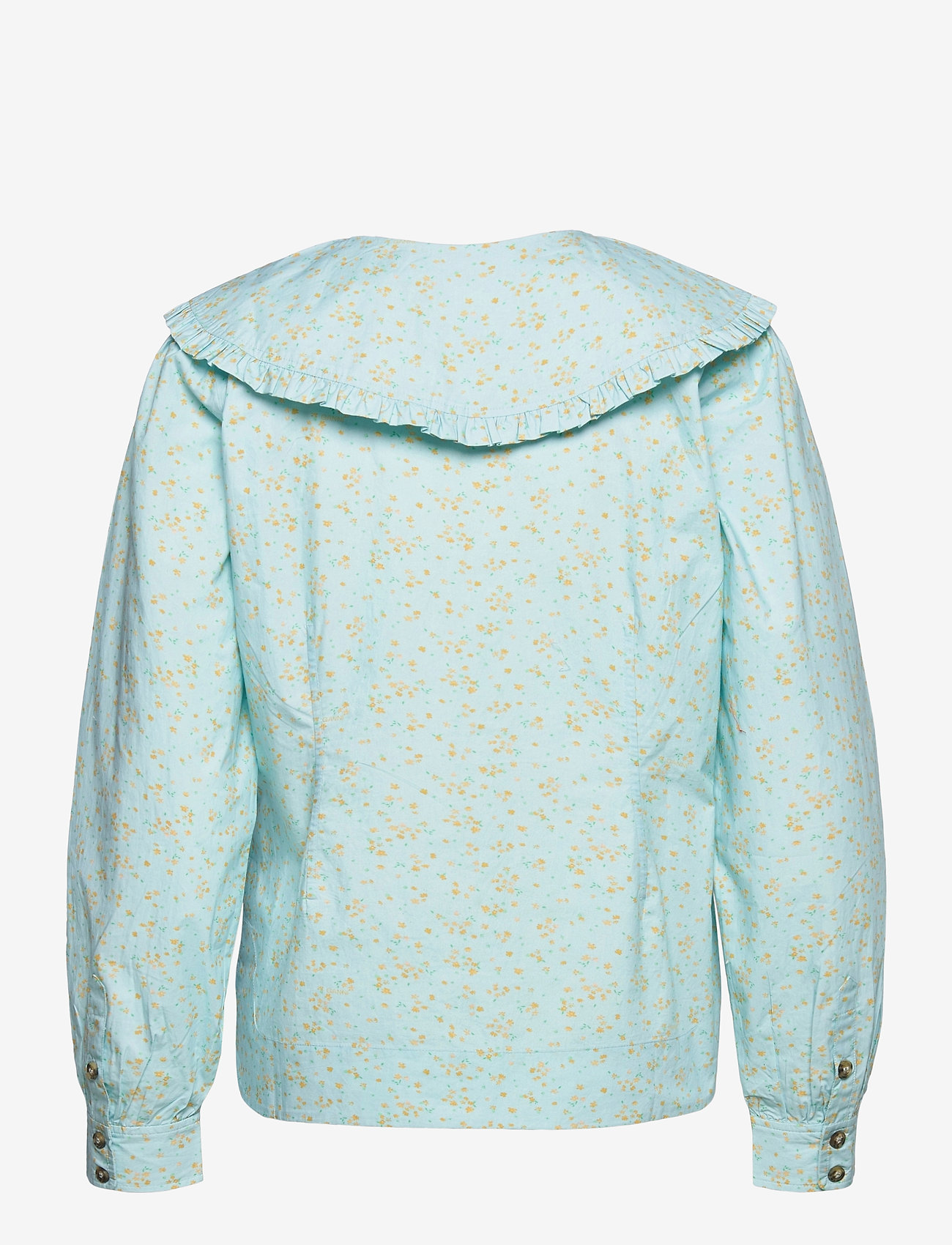 Ganni - Printed Cotton Poplin - langærmede bluser - corydalis blue - 1