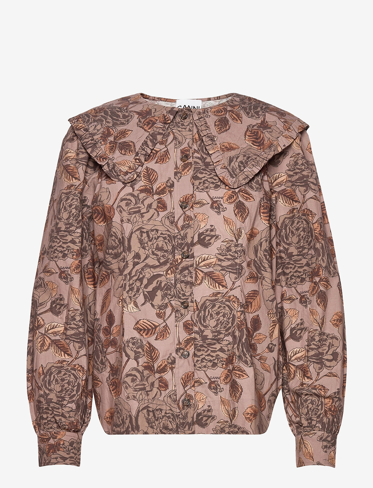 Ganni - Printed Cotton Poplin - long sleeved blouses - fossil - 0