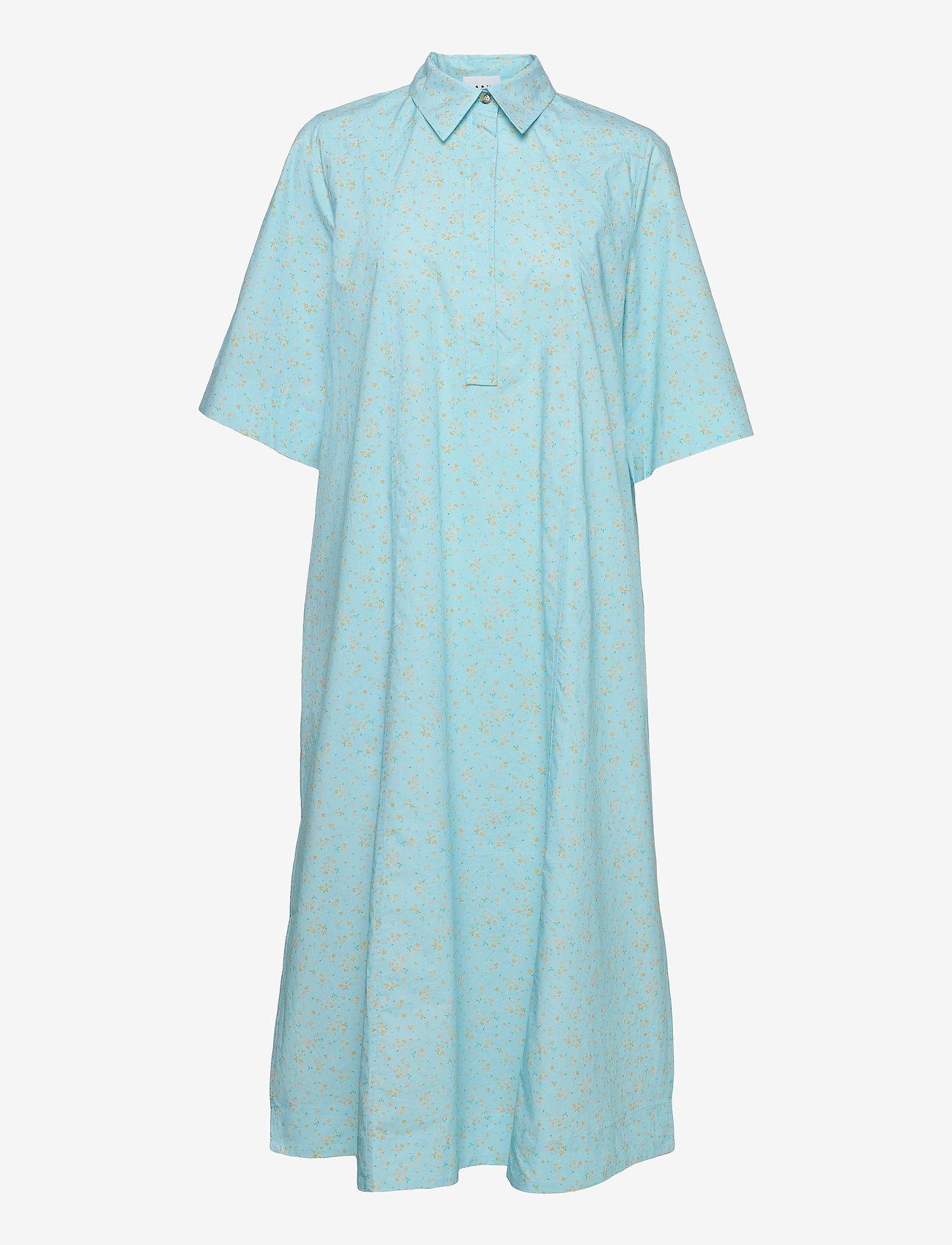 Ganni - Printed Cotton Poplin - skjortekjoler - corydalis blue - 0