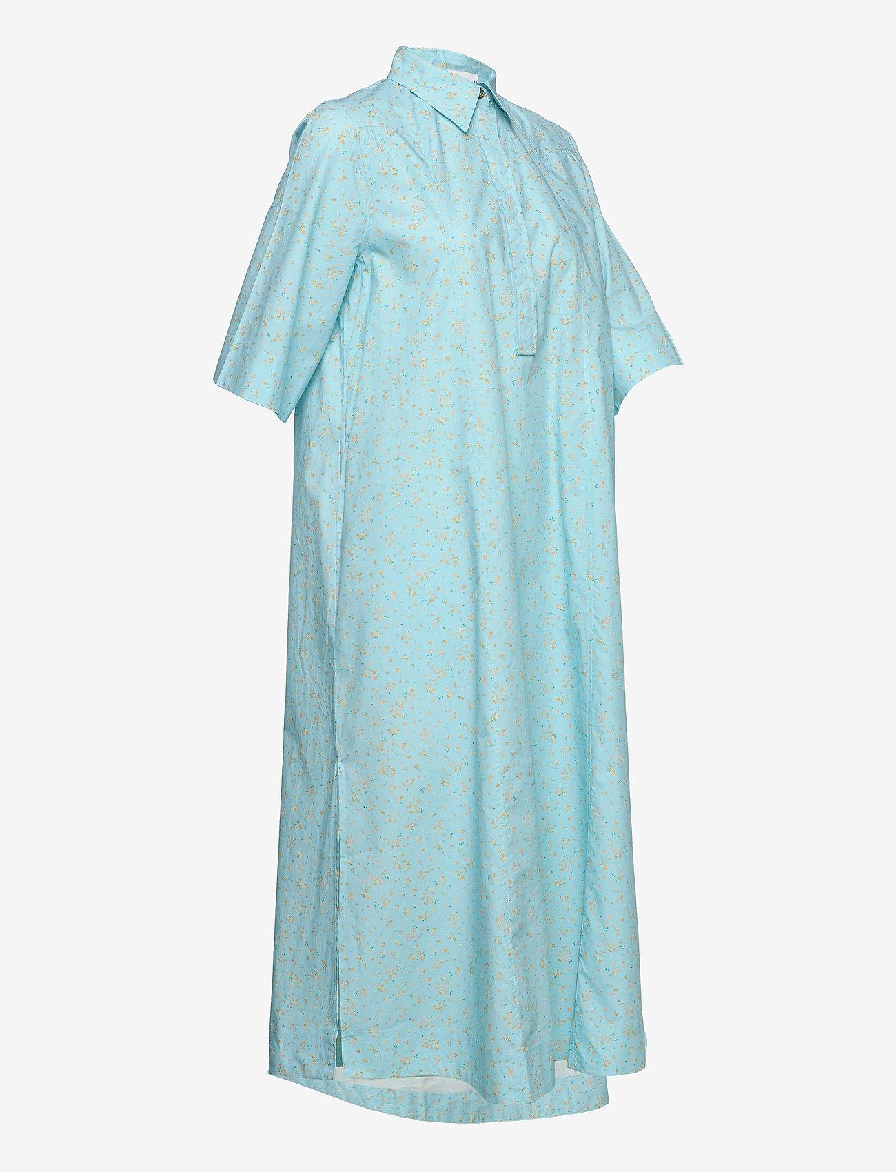 Ganni - Printed Cotton Poplin - skjortekjoler - corydalis blue - 2