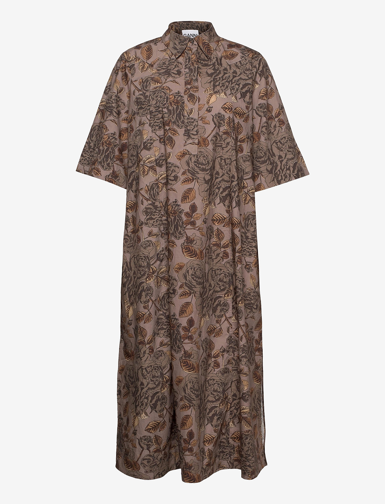 Ganni - Printed Cotton Poplin - skjortekjoler - fossil - 0