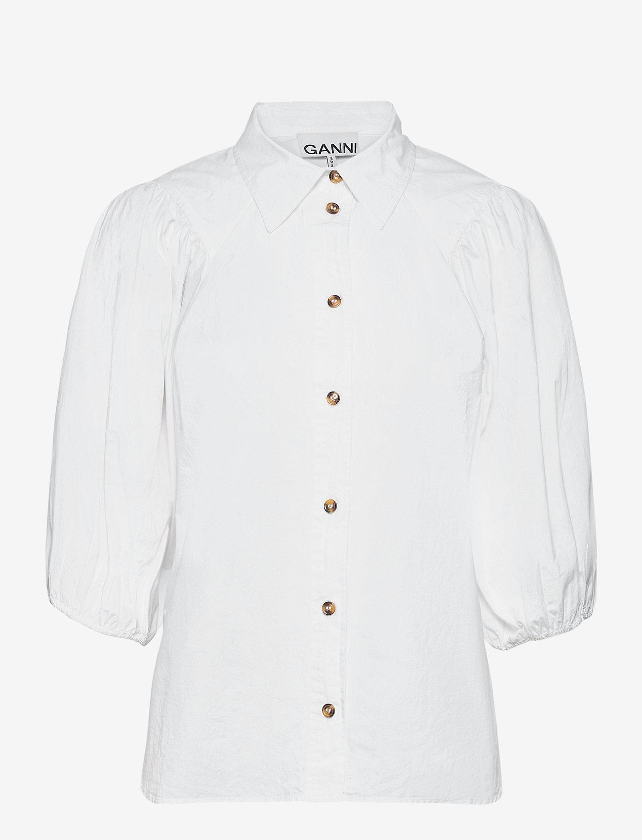 Ganni - Cotton Poplin - kortærmede bluser - bright white - 0