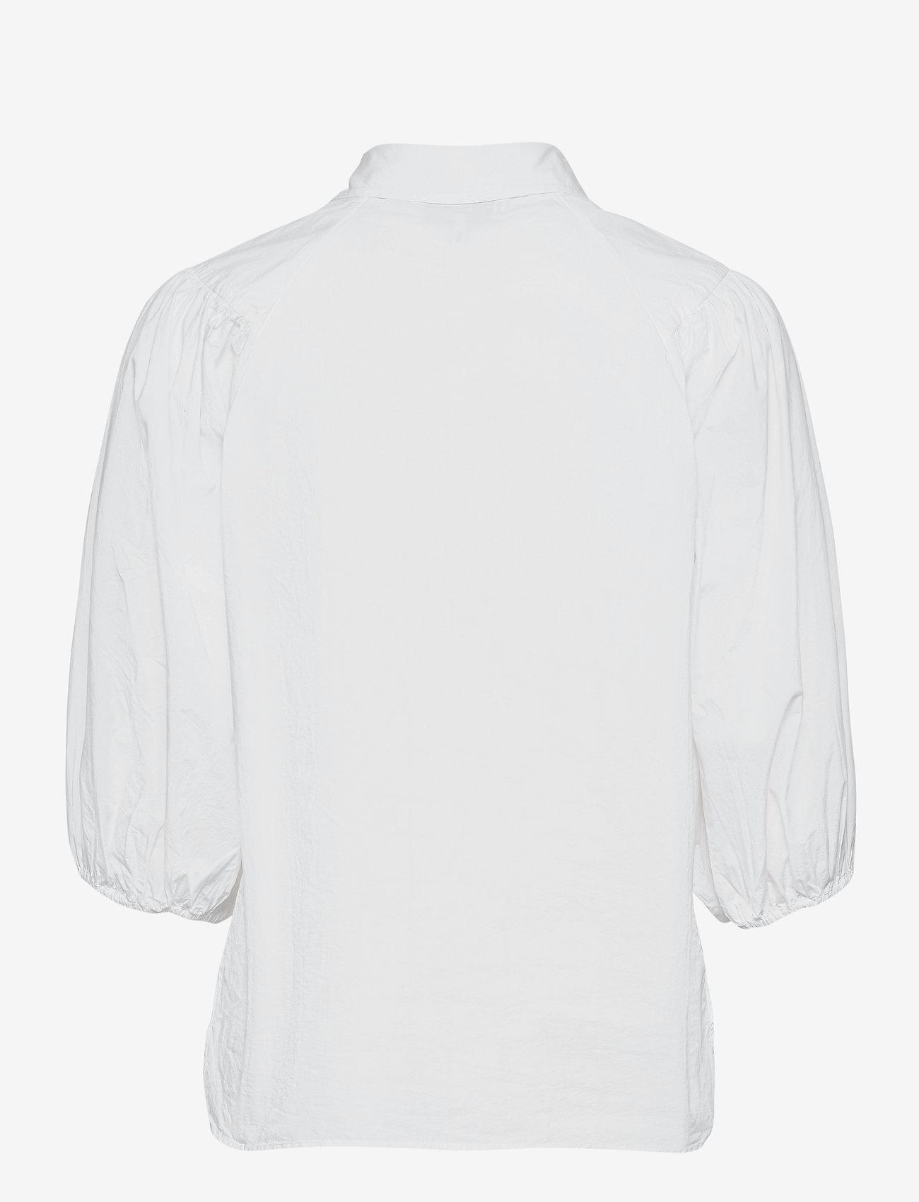 Ganni - Cotton Poplin - kortærmede bluser - bright white - 1