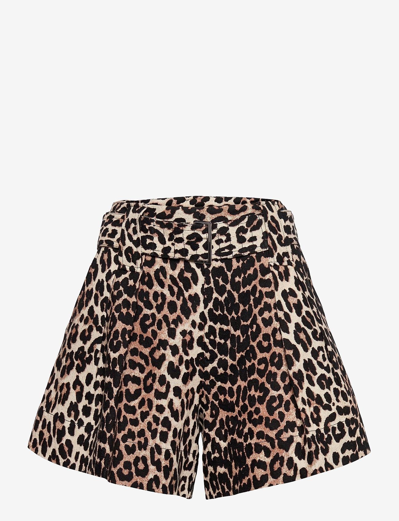 Ganni - Linen Canvas - casual shorts - leopard - 0