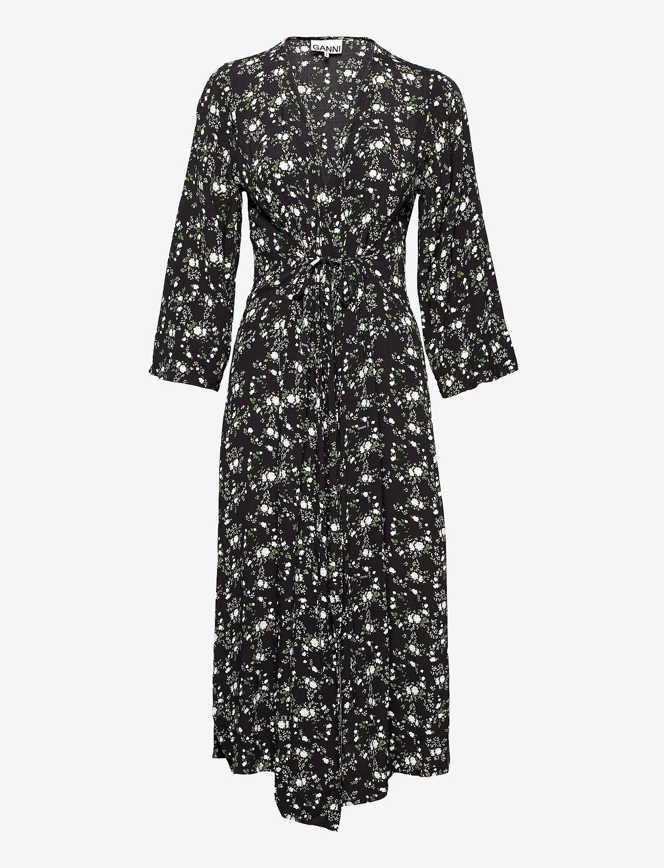 Ganni - Printed Crepe - summer dresses - phantom - 0