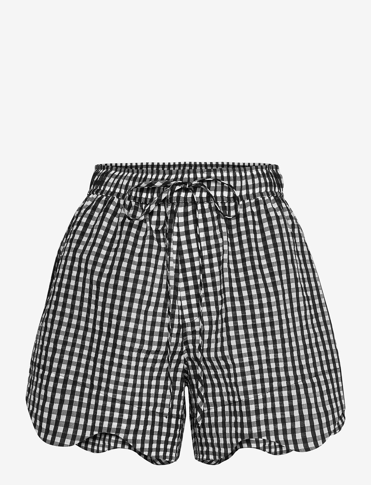 Ganni - Seersucker check - casual korte broeken - black - 0