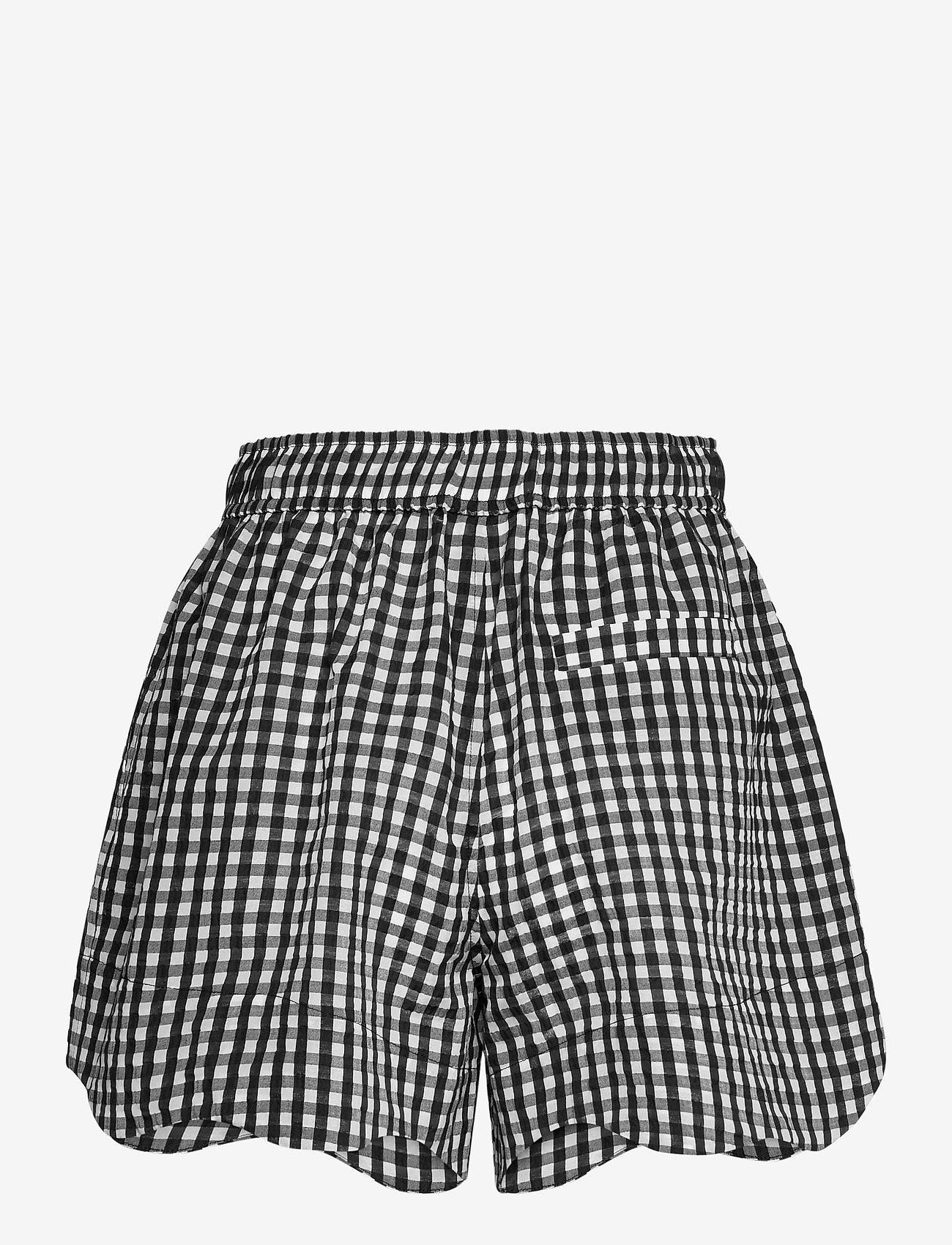 Ganni - Seersucker check - casual korte broeken - black - 1