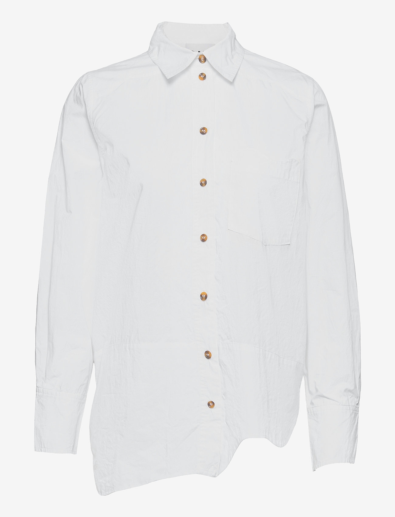 Ganni - Cotton Poplin - langærmede skjorter - bright white - 0