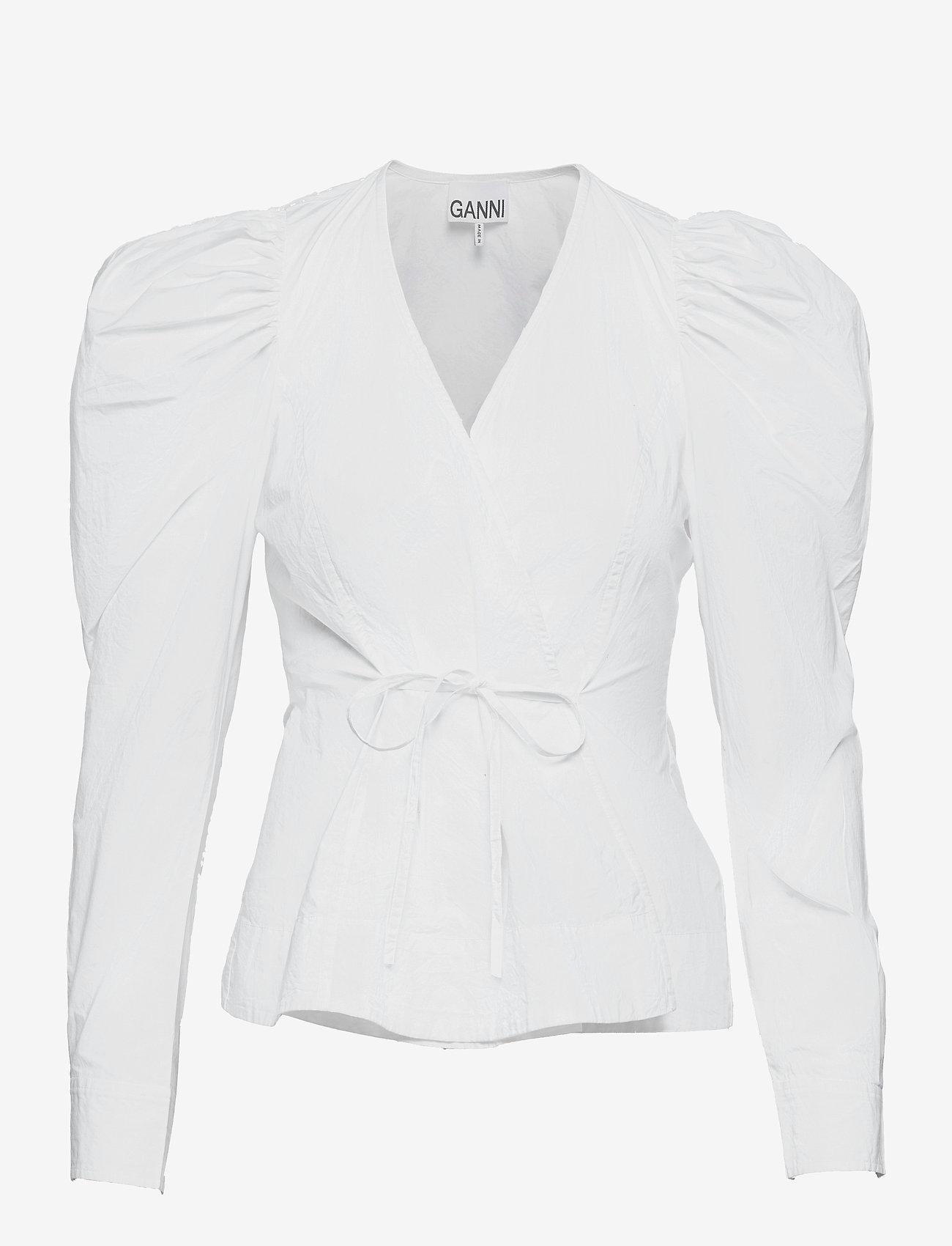 Ganni - Cotton Poplin - langærmede bluser - bright white - 0