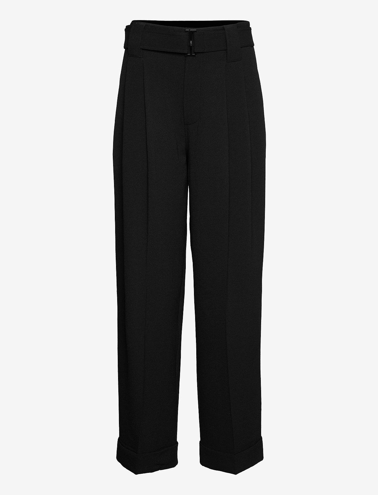 Ganni - Heavy Crepe - straight leg trousers - black - 0