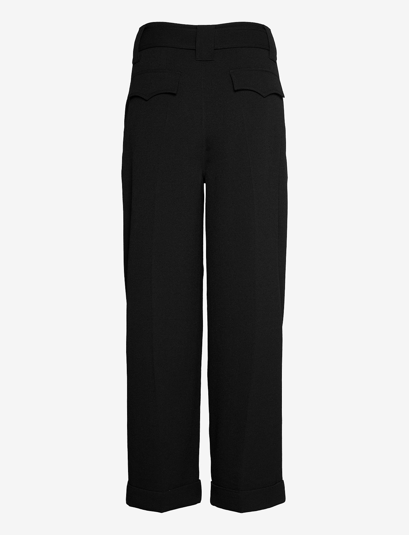 Ganni - Heavy Crepe - straight leg trousers - black - 1