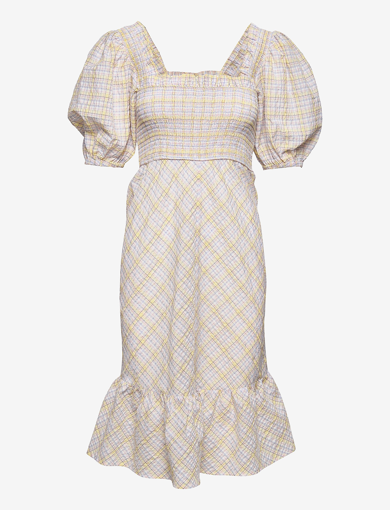 Ganni - Seersucker check - midi dresses - multicolour - 0