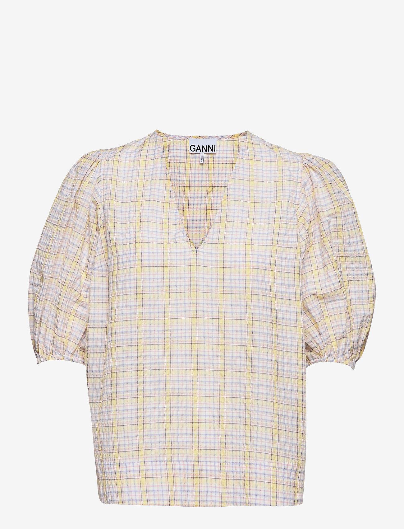 Ganni - Seersucker check - short-sleeved blouses - multicolour - 0