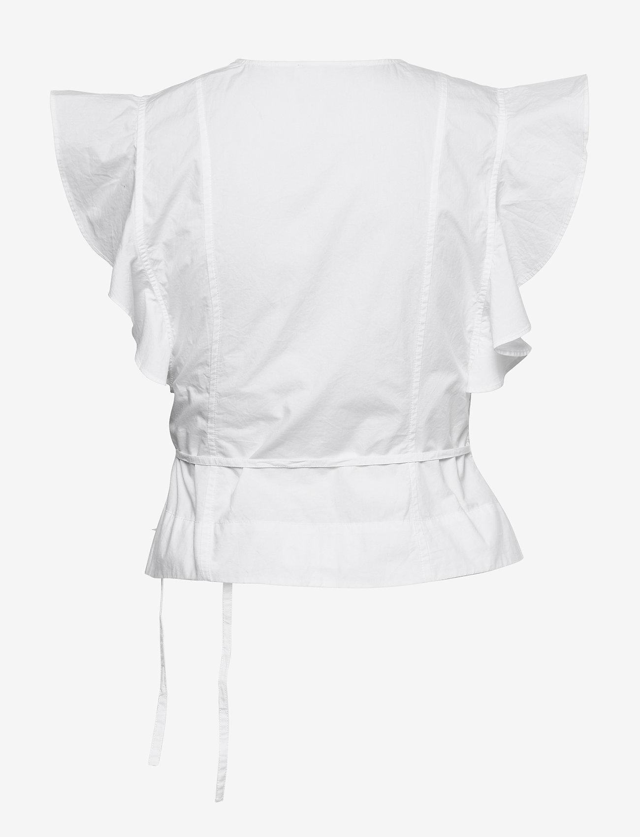 Ganni - Cotton Poplin - Ærmeløse bluser - bright white - 1