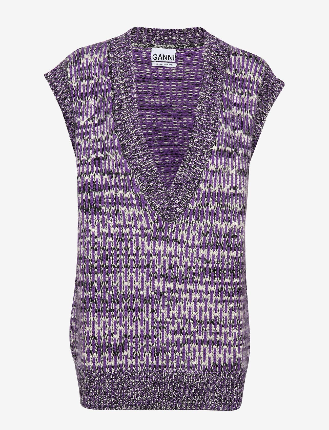 Ganni - Hand Knit Wool - veste - deep lavender - 0