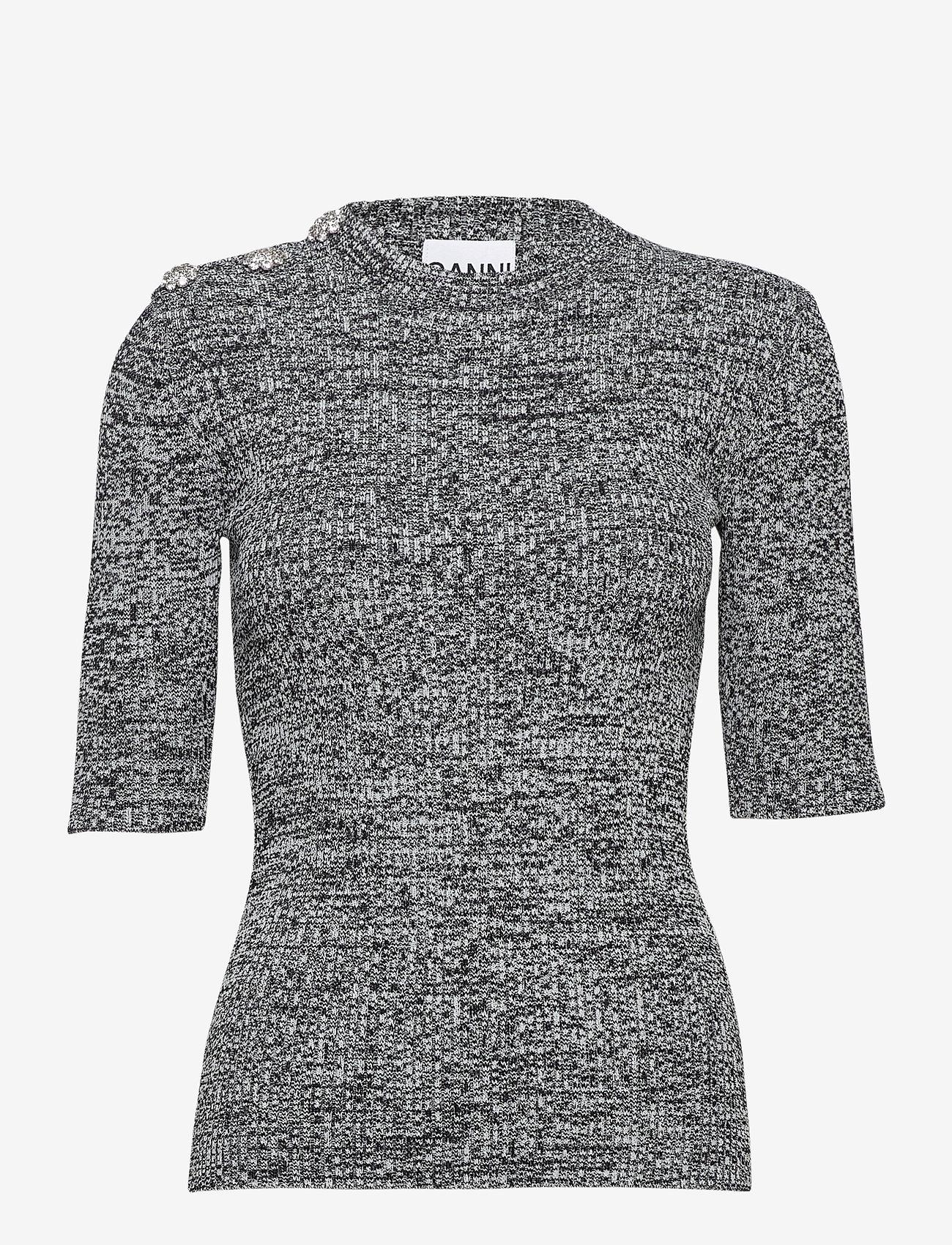 Ganni - Melange Knit - sweaters - black - 0