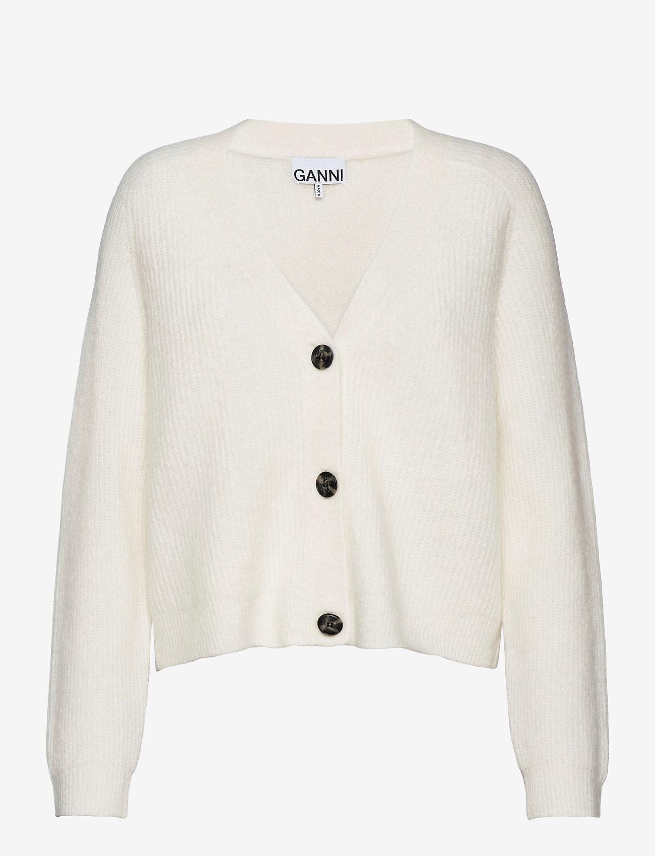 Ganni - Soft Wool Knit - cardigans - egret - 0
