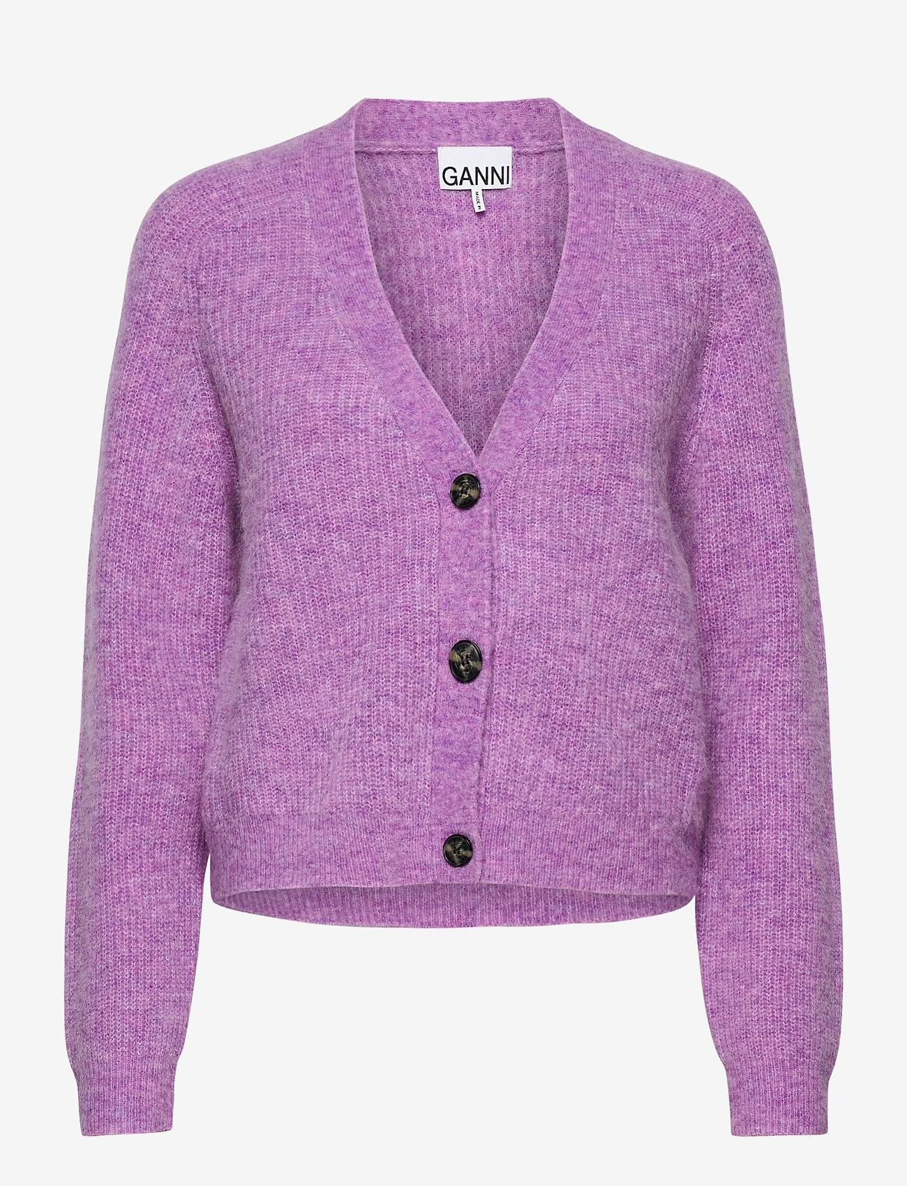 Ganni - Soft Wool Knit - cardigans - pastel lilac - 1