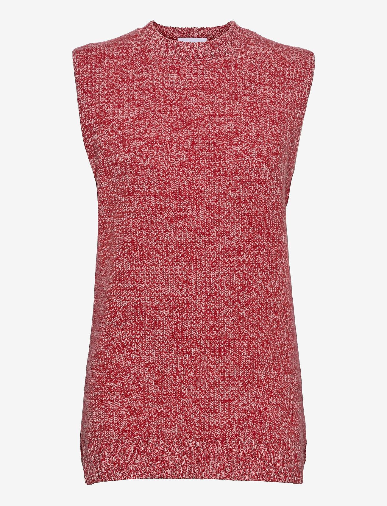 Ganni - Cashmere Mix Knit - strikveste - flame scarlet - 0