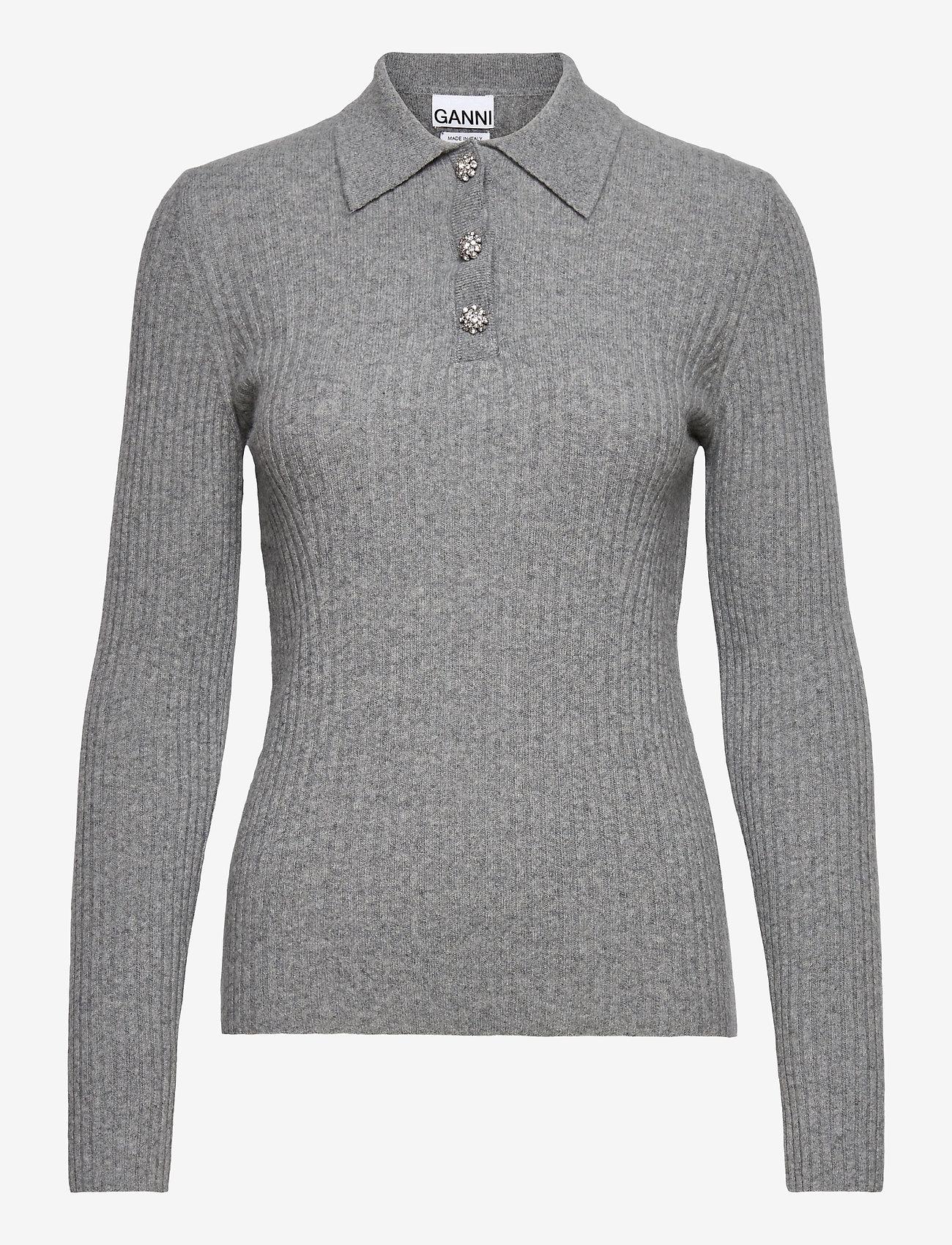 Ganni - Wool Mix Knit - trøjer - paloma melange - 0