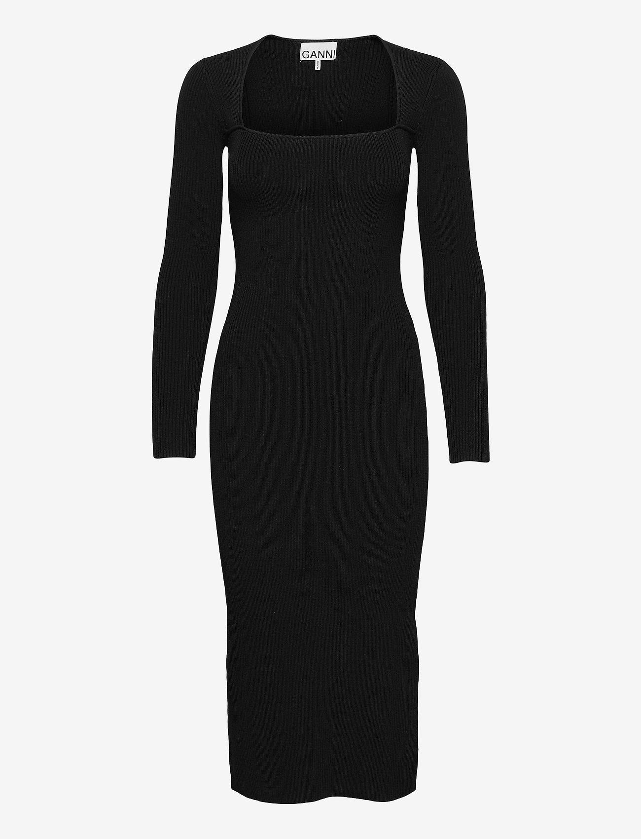 Ganni - Melange Knit - sommerkjoler - black - 0