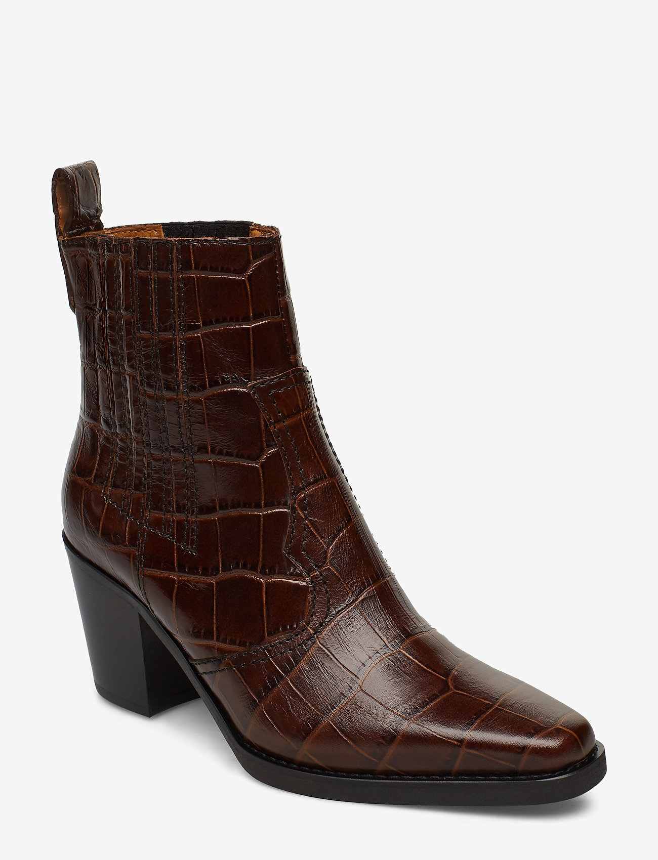 Ganni - Western Ankle Boots - wysoki obcas - chicory coffee - 0