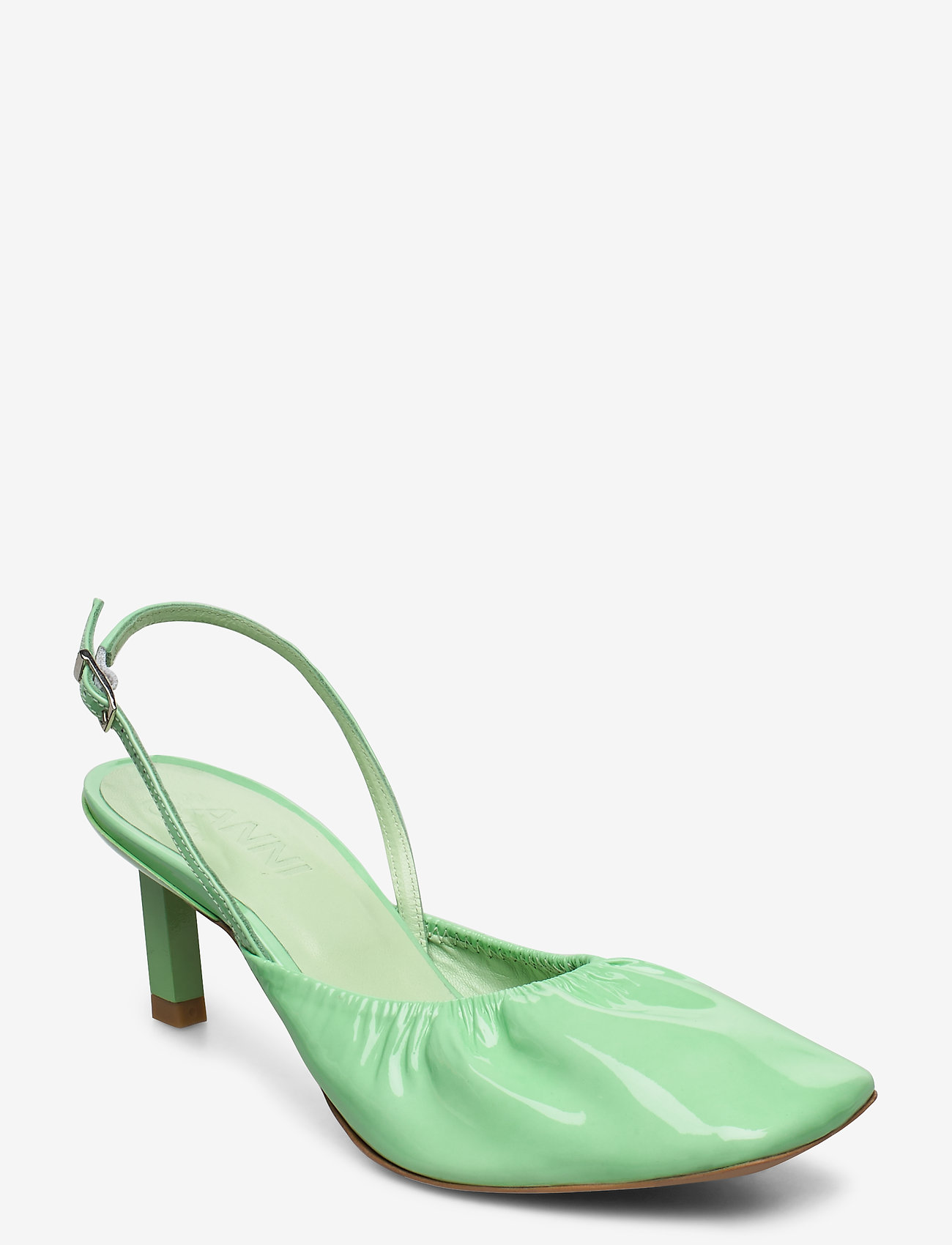 Ganni - Ruffled Pumps - sling backs - patina green - 0