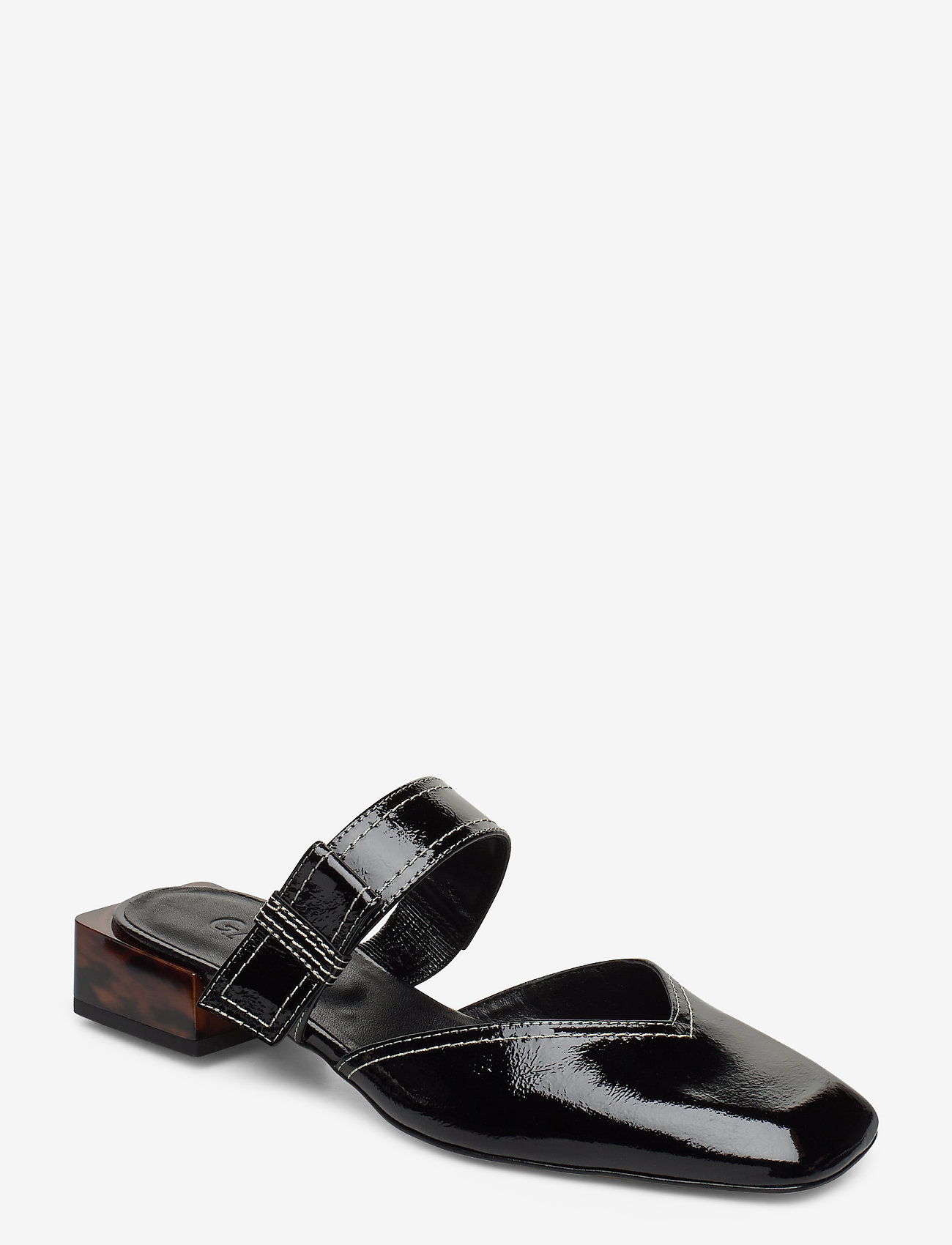 Ganni - Strappy Flats - mules & slipins - black - 0