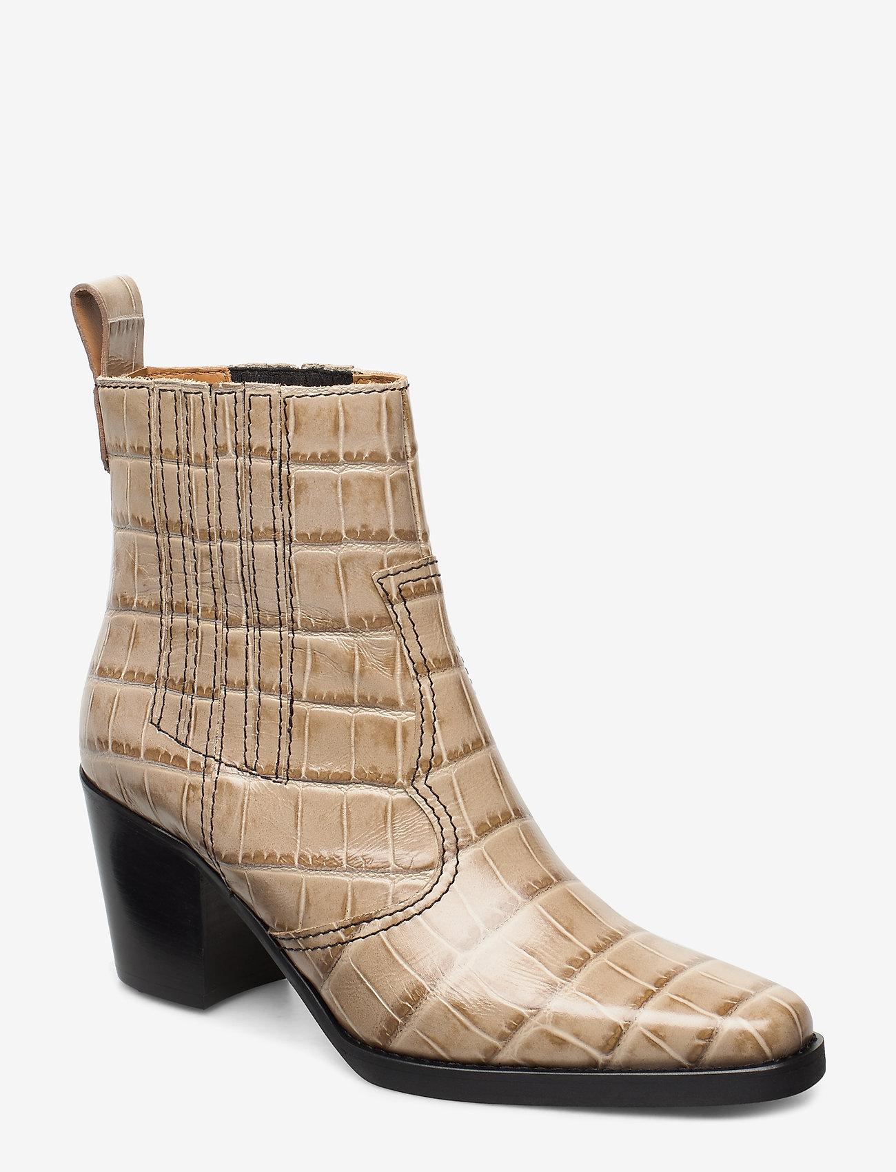 Ganni - Western Ankle Boots - wysoki obcas - tapioca - 0