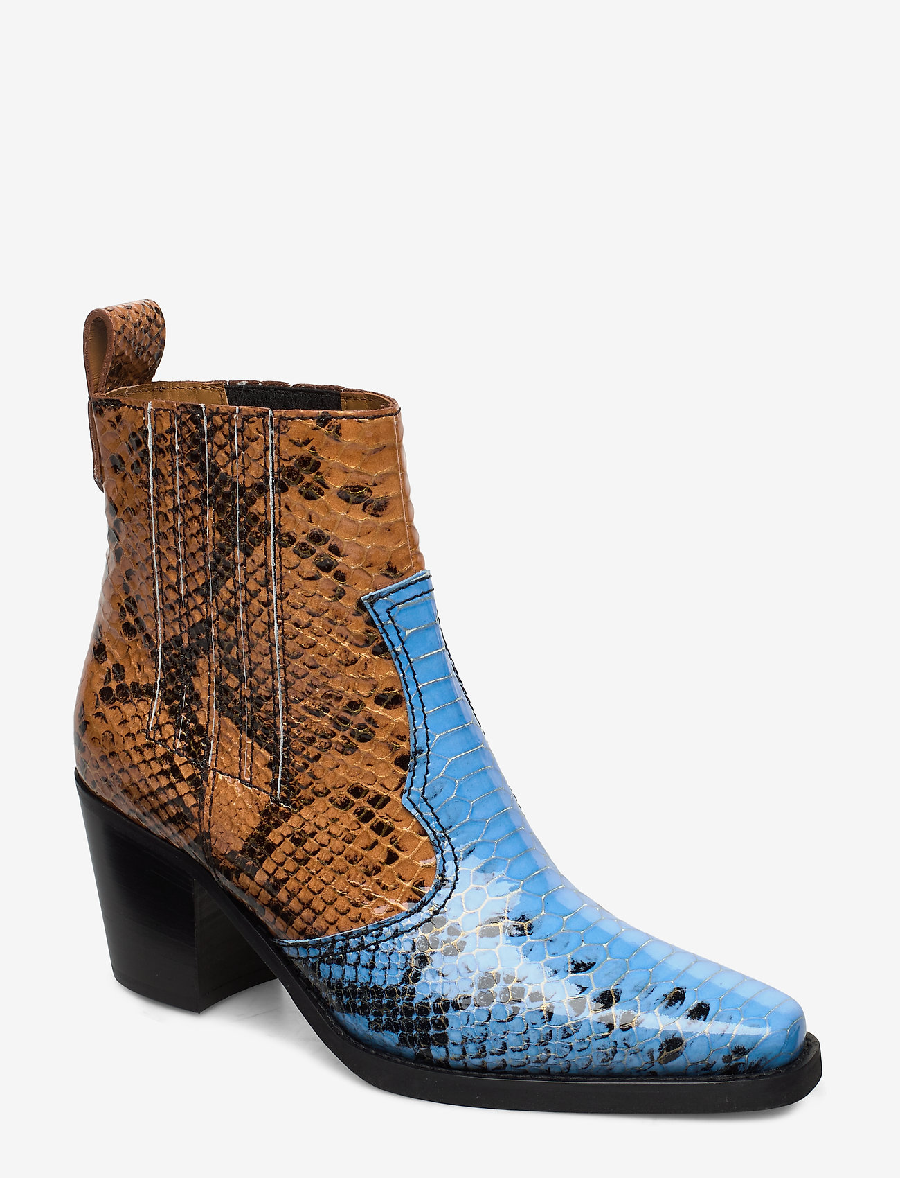 Ganni - Western Ankle Boots - wysoki obcas - brunnera blue - 0