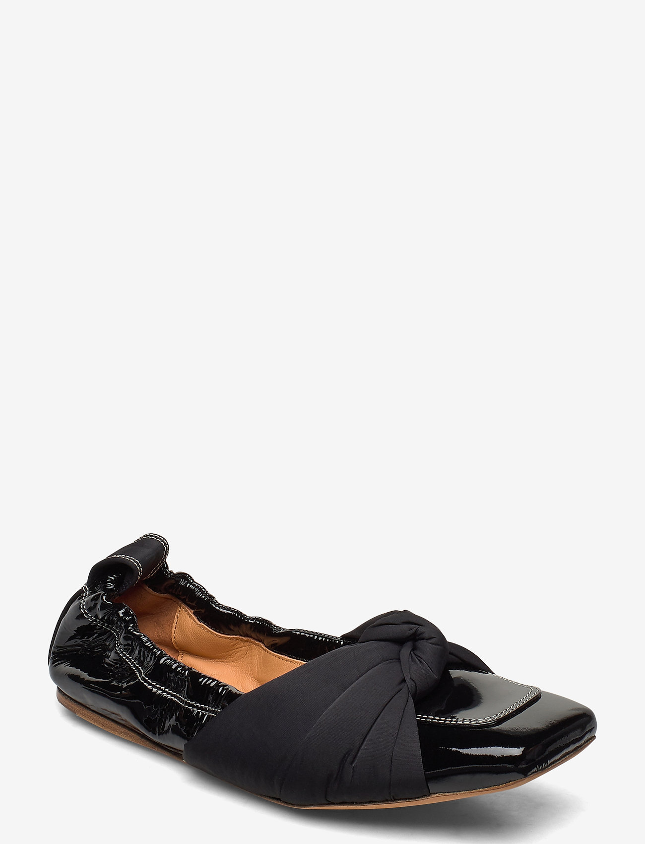 Ganni - Ballerina Soft Patent - ballerinaer - black - 0