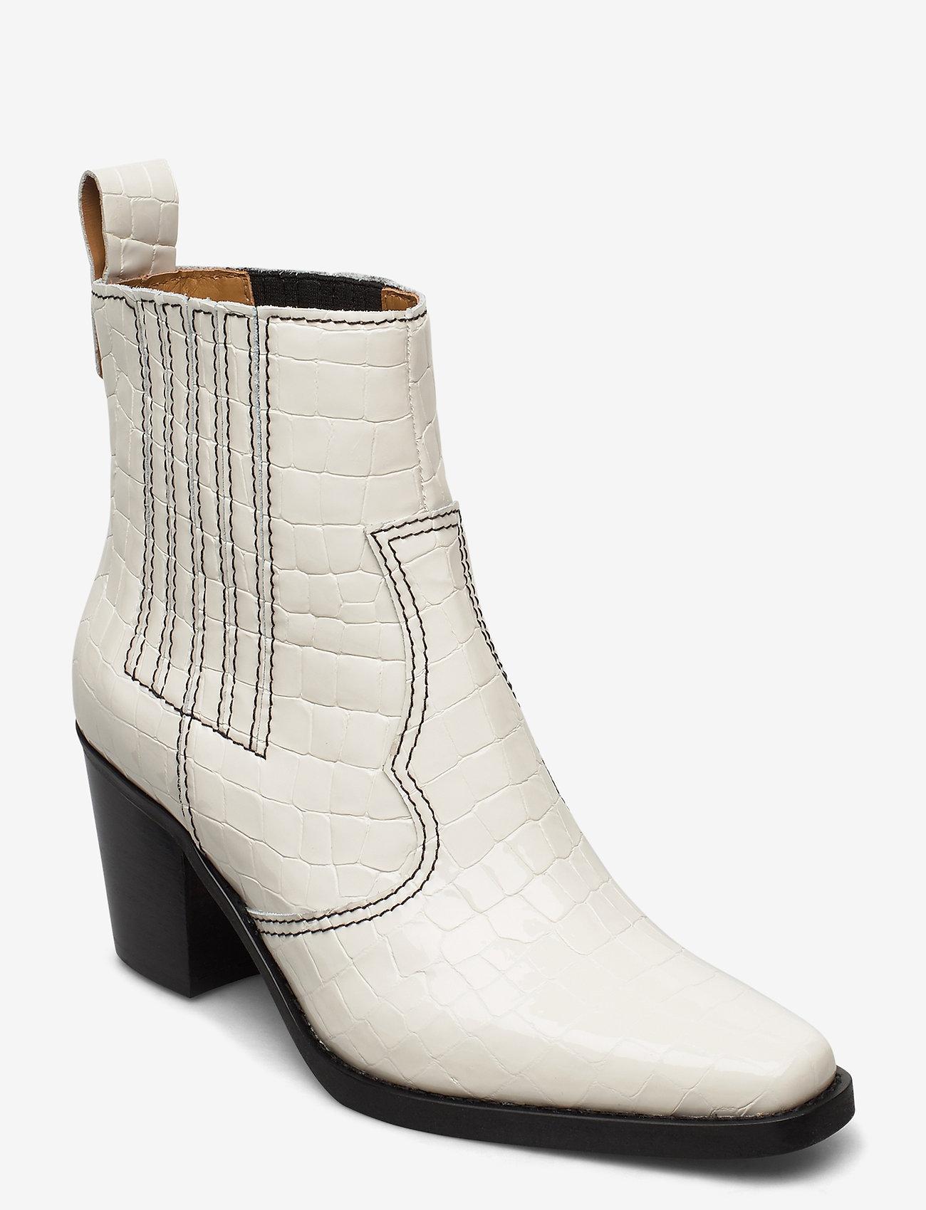 Ganni - Western Boot Belly Croc - wysoki obcas - egret - 0
