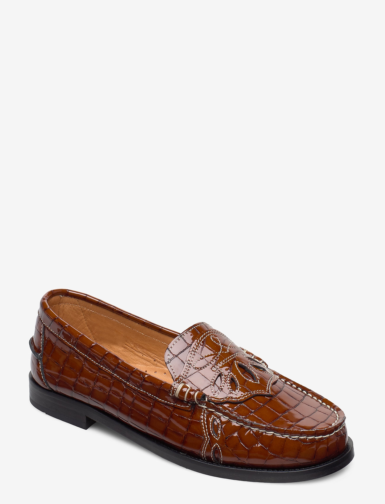 Ganni - Moccasin Belly Croc - loafers - toffee - 0