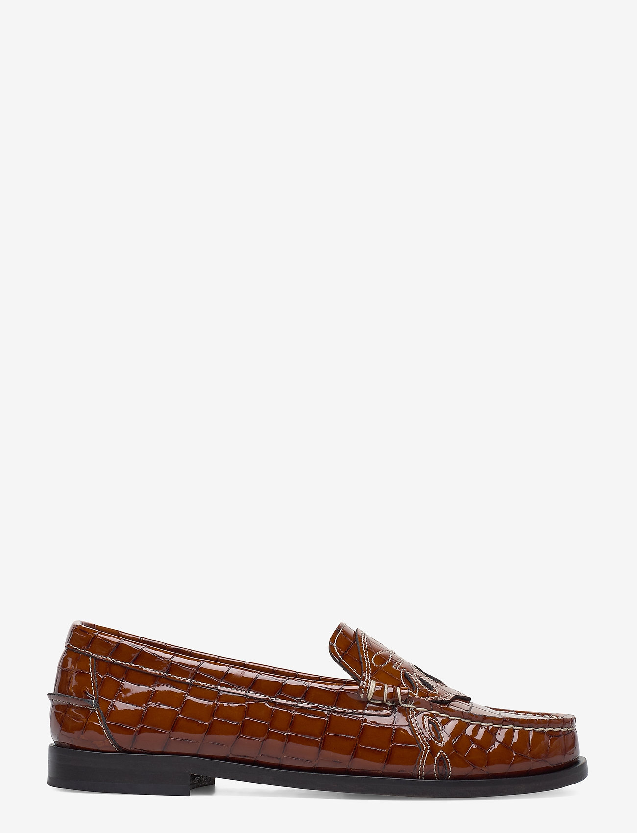 Ganni - Moccasin Belly Croc - loafers - toffee - 1