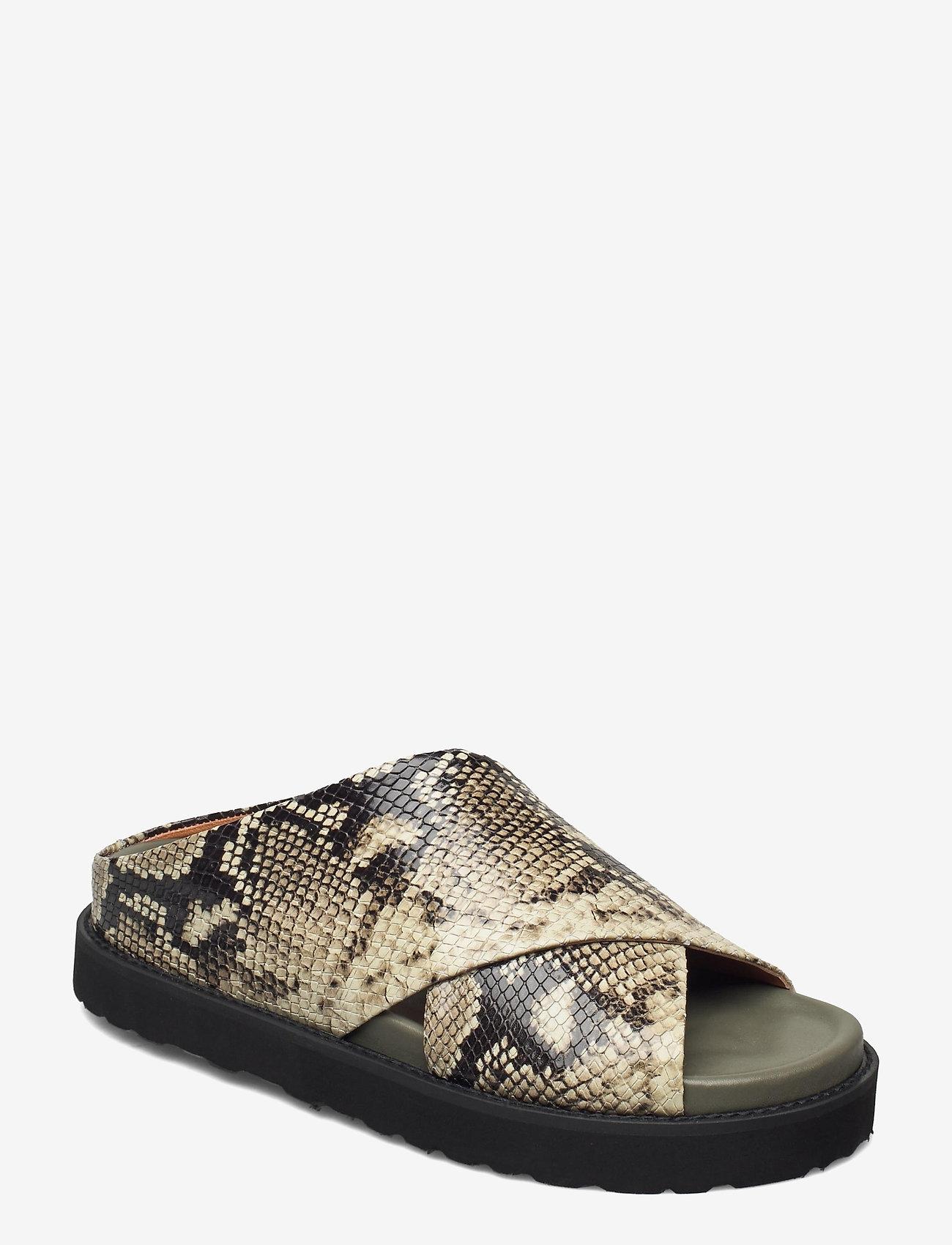 Ganni - Embossed Snake - flade sandaler - kalamata - 0