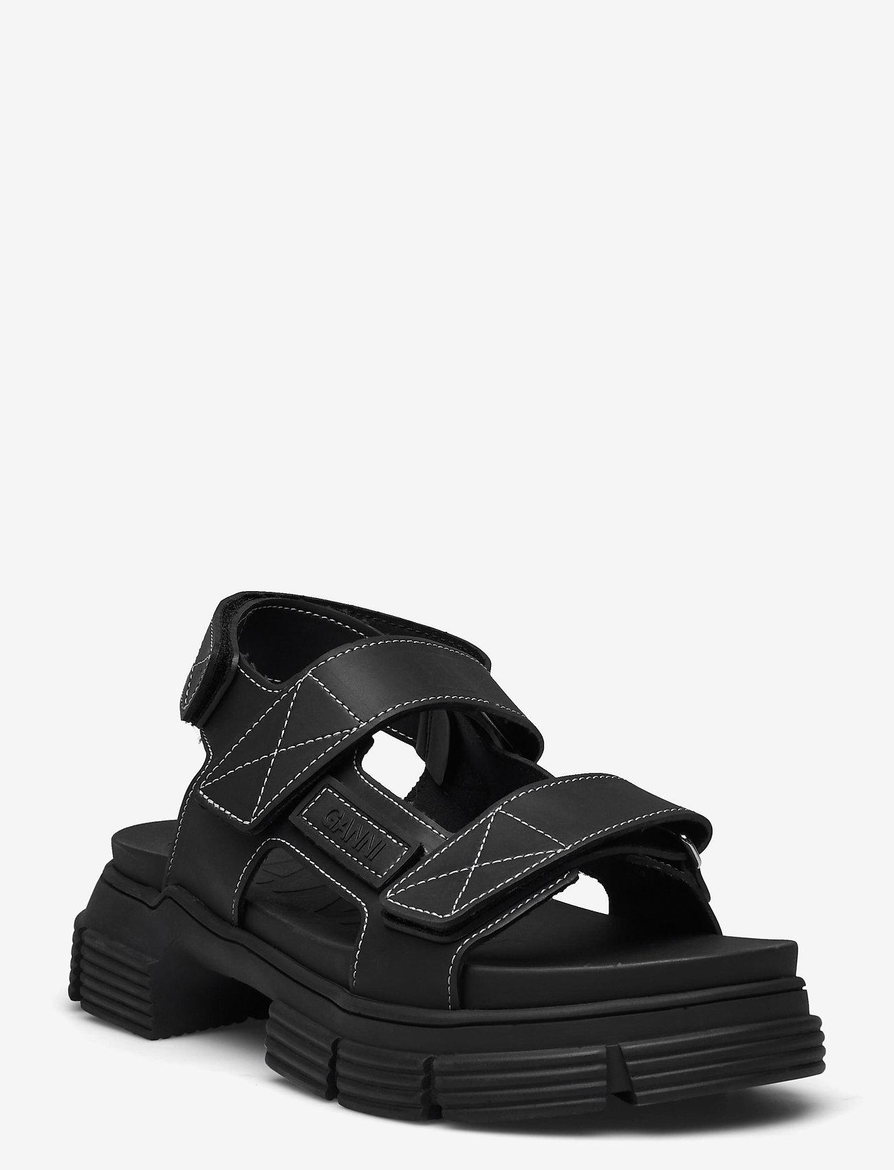 Ganni - Recycled Rubber - płaskie sandały - black - 0