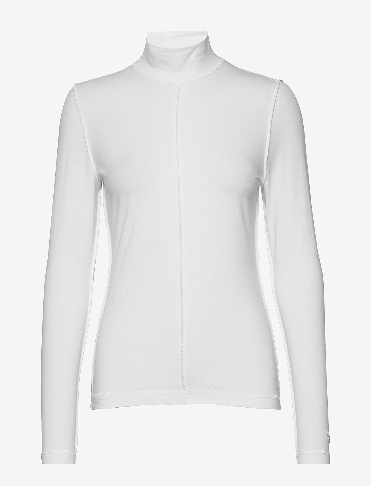 Ganni - Light Stretch Jersey - langærmede toppe - bright white - 0