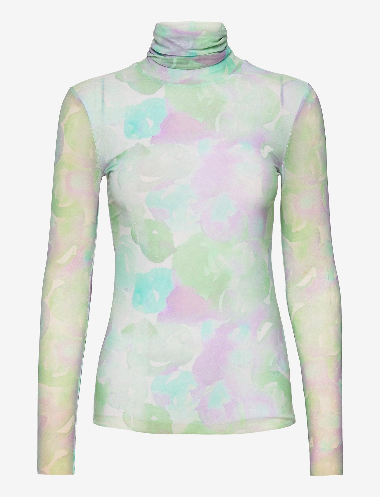 Ganni - Printed Mesh - langærmede bluser - bright white - 0