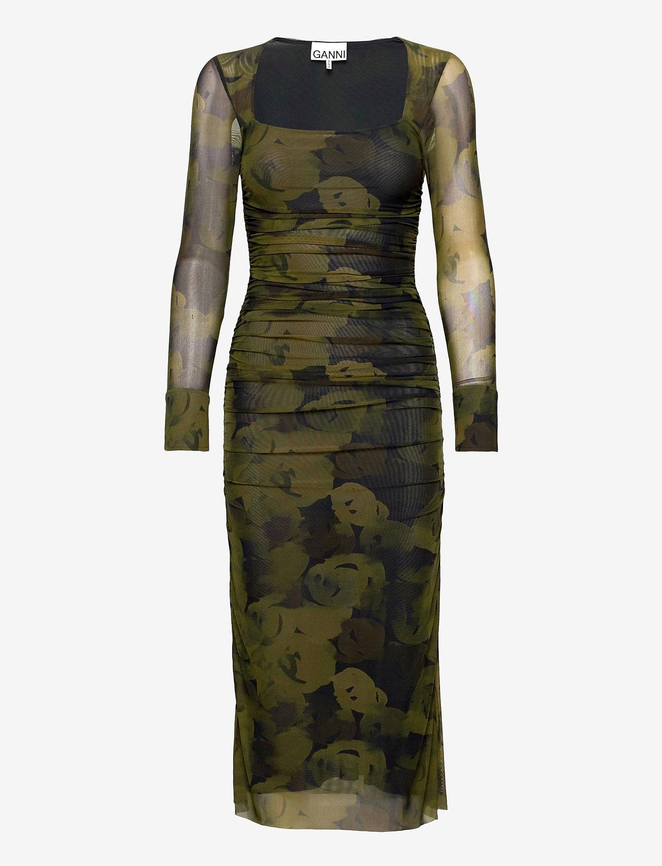 Ganni - Printed Mesh - stramme kjoler - olive drab - 0