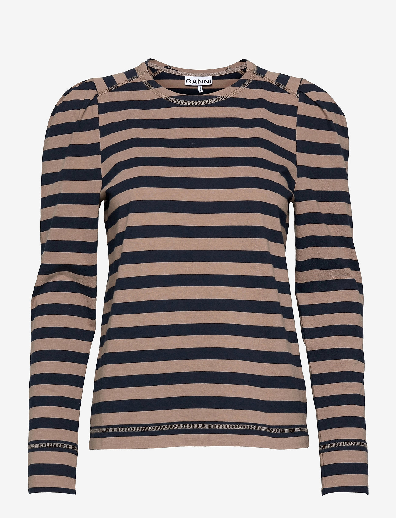 Ganni - Striped Cotton Jersey - langærmede toppe - sky captain - 0